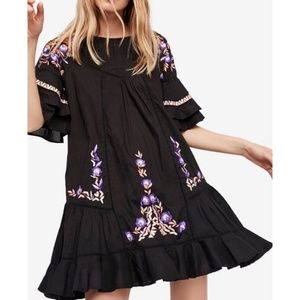 Free People Pavlo Black Embroidered Dress Small